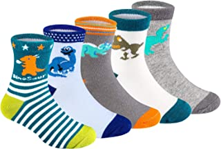 BOOPH Boys Crew Socks 5 Pack Baby Toddler Dinosaur Striped Cotton Socks for Boys