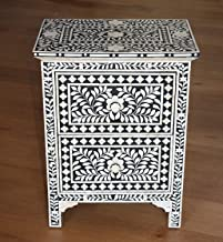 Pair of Bone Inlay Bedside Chest Tables