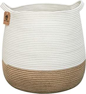 Goodpick Cotton Rope Storage Basket- Jute Basket Woven Planter Basket Rope Laundry Basket with Handles for Toys, Blanket a...