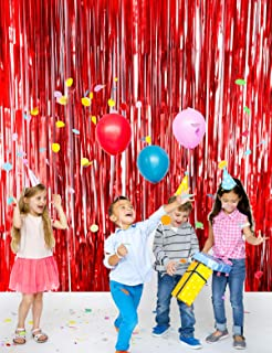 Metallic Tinsel Foil Fringe Curtains(2pack 3.2 ft x 9.8 ft) for Party Photo Backdrop(Matt Red Tinsel)