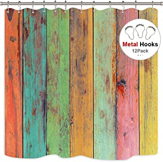 Riyidecor Painted Wood Shower Curtain Rustic with Metal Hooks 12 Pack Colorful Wooden Vintage Barn Door Colored Striped Rainbow Vertical Wood Planks Decor Fabric Bathroom Set 72x72 Inch