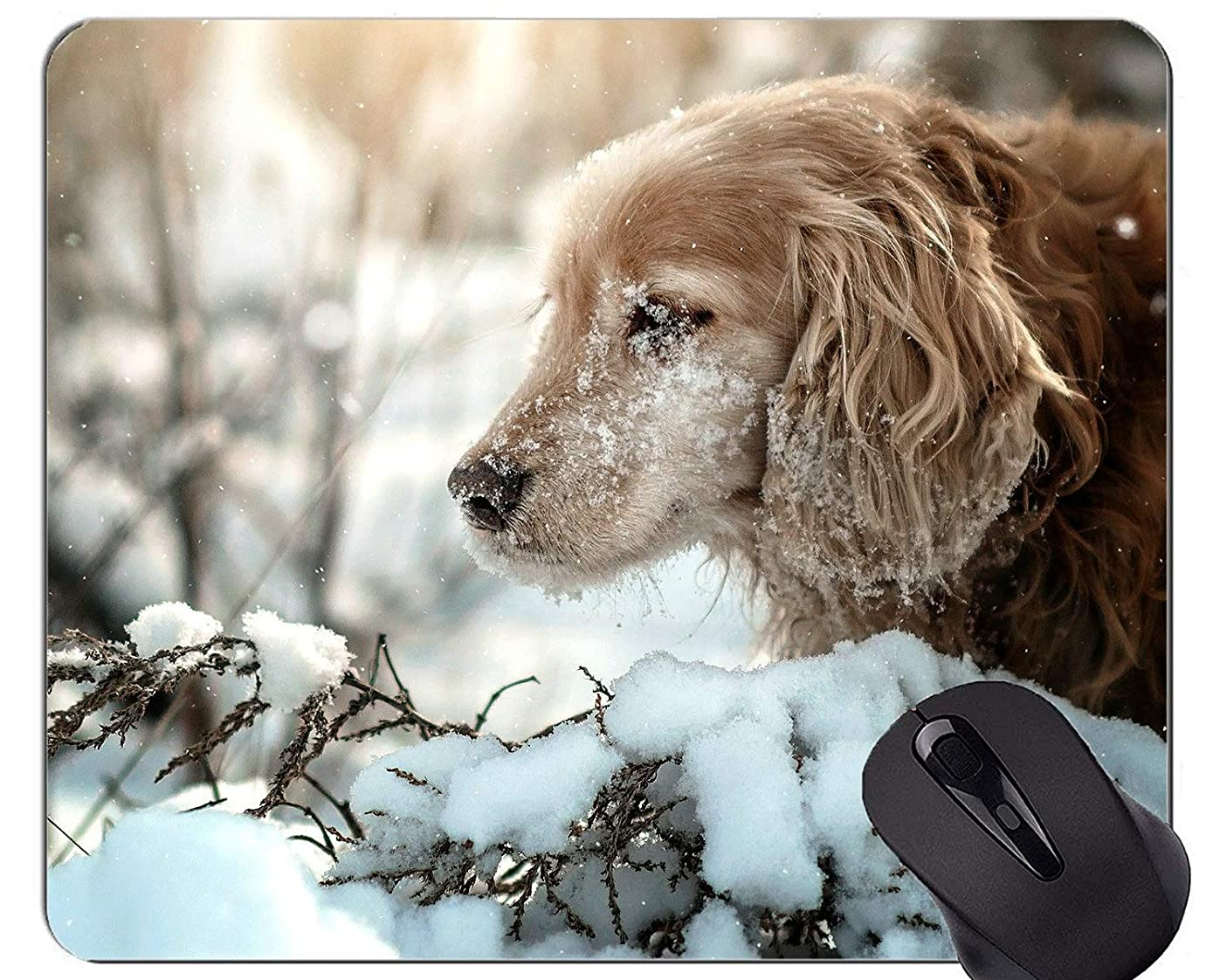 Natural Rubber Gaming Mouse Pad Printed with Pet Snow Winter Cocker Spaniel Dog - Stitched Edges