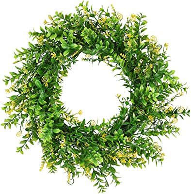 16 Outdoor Round Fake Wreath for Front Door Hanging Wall Window Wedding Party Farmhouse Decoration Green#1 N//D Artificial Green Leaves Wreath