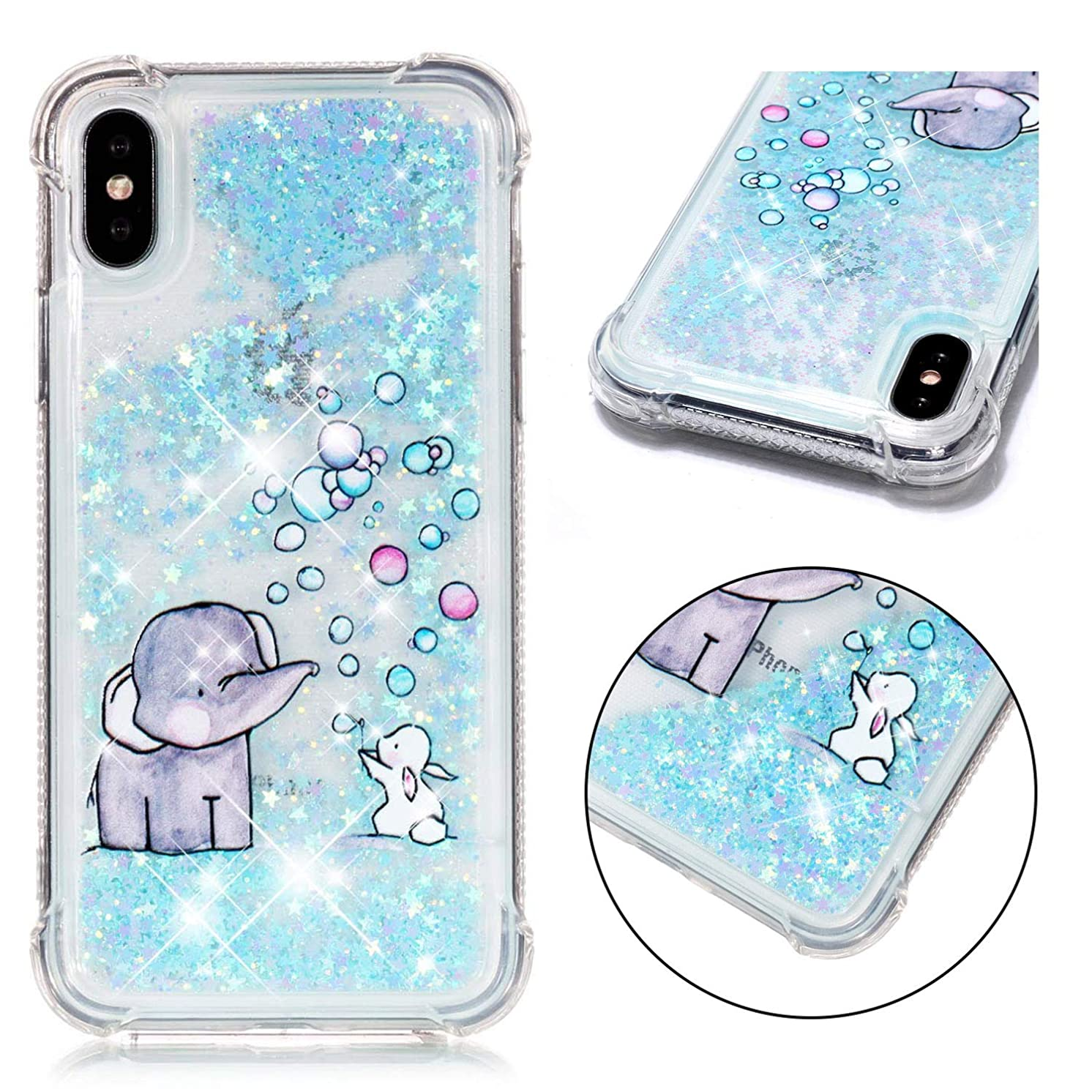 iPhone Xs Case, iPhone X Case, ZERMU Shockproof Cartoon Pattern Durable Waterfall Fusion Moving Liquid Sparkling TPU Bumper Luxury Bling Quicksand Flowing Floating Glitter Case for iPhone Xs/iPhone X