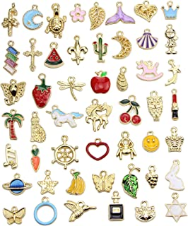 Ginooars 50PCS Assorted Styles 25pcs Golden Color Plated and 25pcs Enamel Charm Pendant for DIY Necklace Bracelet Jewellery Making