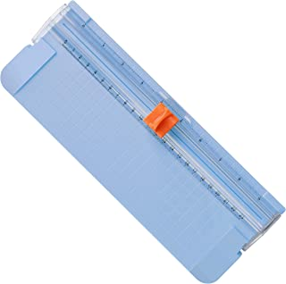 Paper Cutter A5 Paper Trimmer Titanium Scrapbooking Tool with Automatic Security Safeguard and Side Ruler for Paper Label Card Standard Cutting Blue