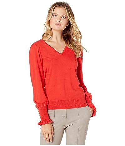 LAUREN Ralph Lauren Buttoned Cuff Long Sleeve Sweater (Sporting Orange) Women