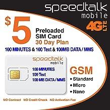 $5 SIM Card 100 Minutes Talk + 100 Text + 100 MB 2G 3G 4G LTE Data
