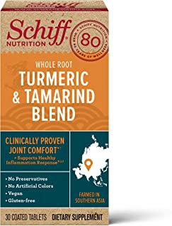 Turmeric & Tamarind Vegan Joint Comfort Tablets, Schiff (30 count in a bottle), Clinically Proven Joint Support Plus Supports Healthy Inflammation Response, Gluten-free, Preservative-Free