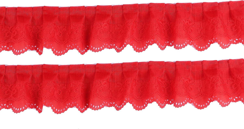 XiXiboutique 15 Yards 3-Layer Pleated Organza Lace Ribbon Gathered Mesh Chiffon Fabric Handmade DIY Lace Trim Sewing Craft,Black