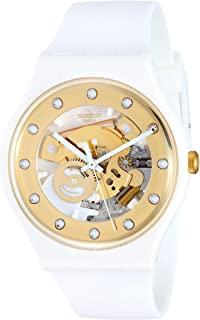 Swatch Unisex Gold Dial Silicone Band Watch - SUOZ148, white
