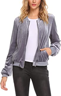 Women's Faux Leather Bomber Metallic Casual Jacket