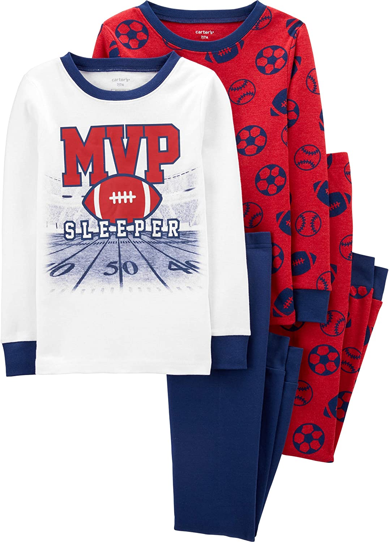 Carter's 4 Piece Pajama Set (MVP Red Navy, numeric_6)