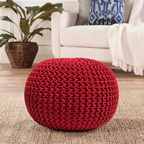 Neha Fab s Home Pouf Puffy for Living Room Sitting Round Ottoman Bean Filled Stool for Foot Rest Home Furniture Rope Twisted Bean Bag Design 14 inch Height Red