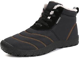 حذاء Voovix نسائي للثلوج في الشتاء دافئ مبطن بالفرو حتى الكاحل خفيف الوزن مقاوم للماء ومضاد للانزلاق في الهواء الطلق