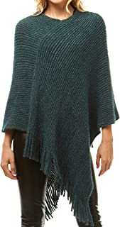 MIRMARU Women's Soft Warm Chenille Knit Pullover Poncho Sweater Warp Shawl with Fringes