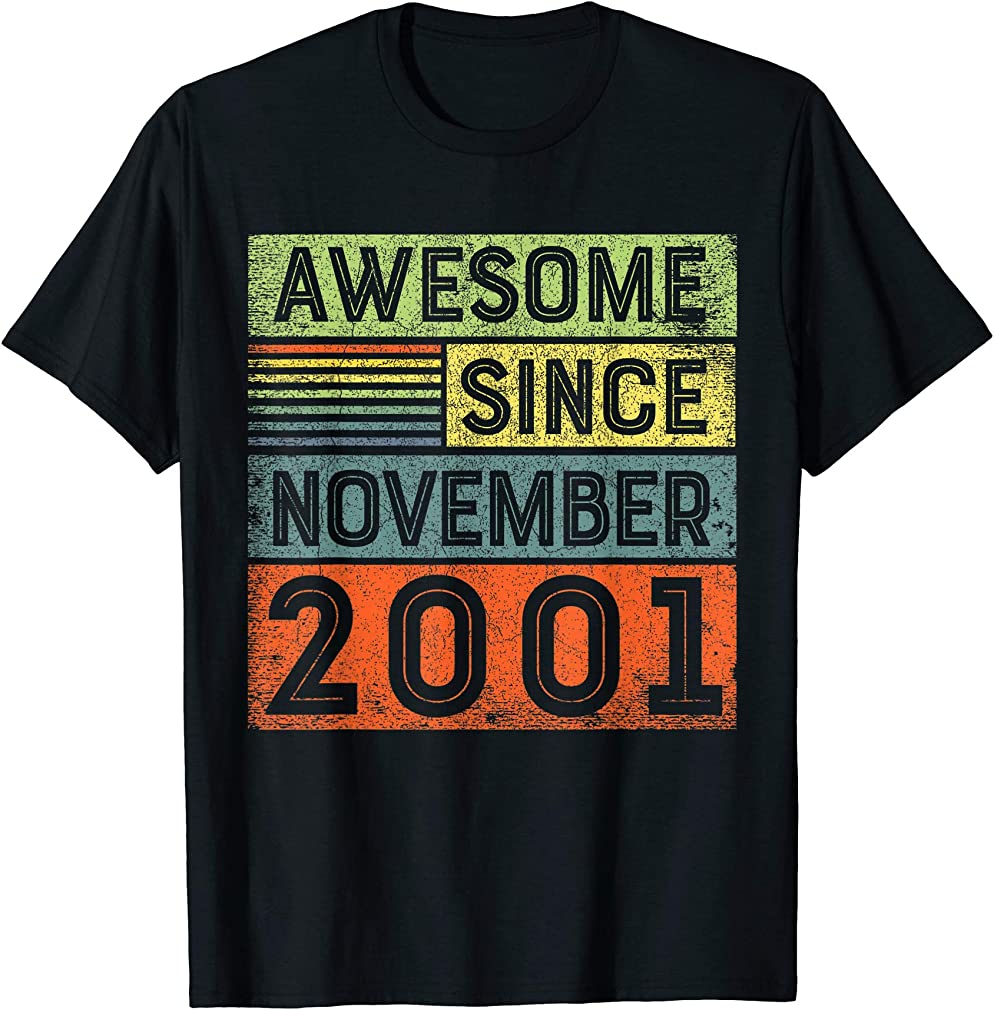 Awesome Since November 2001 18th Birthday Shirt Boy T-shirt