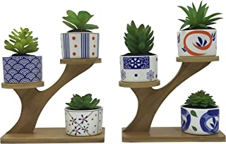 6 PCS Coloful Japanese Style Ceramic Succulent Plant Pots, with 2 PCS 3 Tier Treetop Shaped Bamboo Flower Pot Stands Holder (Plants Not Included)