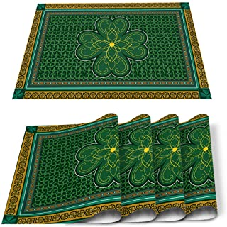 St Paddy's Placemats for Dinning Table Set of 4 Waterproof Cloth Table Mats, Lucky Irish Clover Cotton Linen Place Mats Fa...