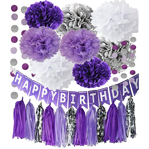 Purple Silver Party Decorations Tissue Pom Happy Birthday Banner Circle Paper Garland For