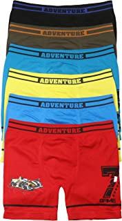 ToBeInStyle Boys' 6 Pack Graphic Decal Print Seamless Long Leg Boxer Briefs