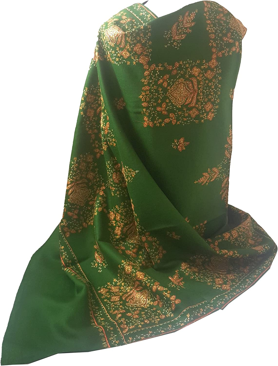 World of Shawls Exclusive Women's Ladies Needle Thread Work Hand Embroidered Shawl Scarf Wrap Occasion Bridal Party Wear Prom
