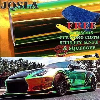 "JQSLA Holographic Rainbow Neo Chrome Green Premium Vinyl Car Wrap Decal Film Sheet Air Channel Release Technology + Free Tool Kit (36"" x 54"" / 3FT x 4.5FT)"