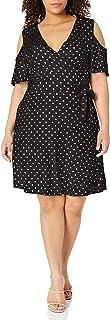 Star Vixen womens Plus-Size Cutout Cold Shoulder Short Sleeve Fauxwrap Dress Dress