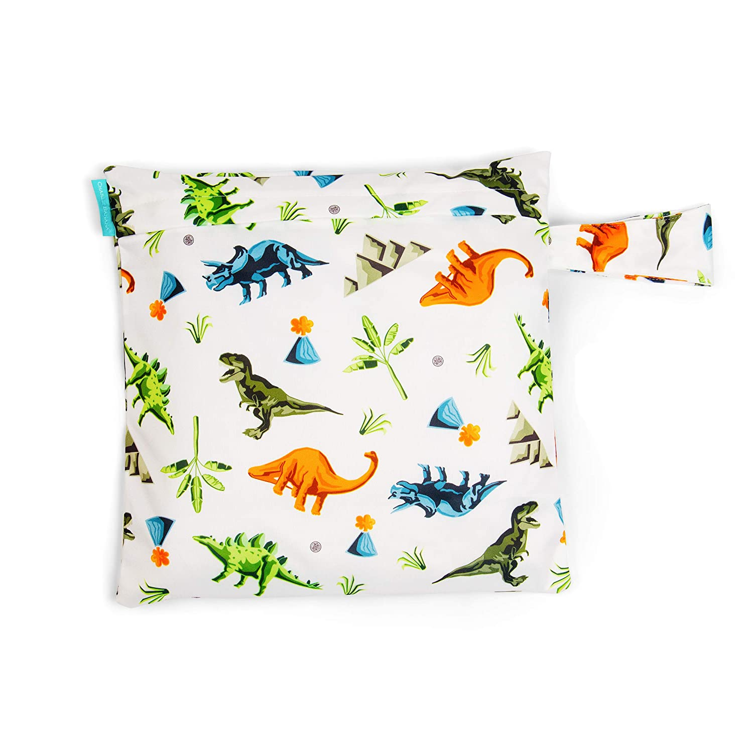 Charlie Banana Baby Waterproof Reusable and Washable Tote Bag for Diapers and Swimwear, Dinosaurs