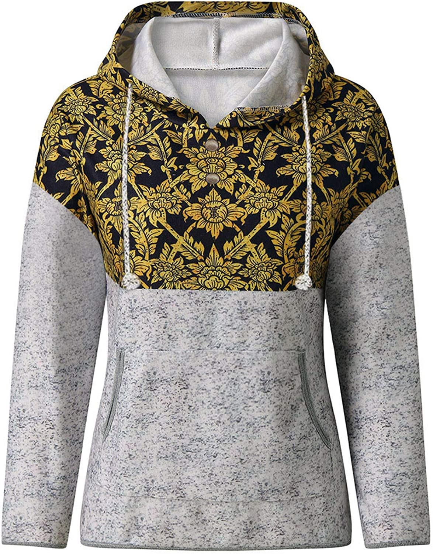 POTO Womens Vintage Hooded Sweatshirts Womens Casual Pullover Tops Drawstring Long Sleeve Plaid Print Shirts Sweater