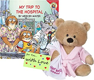 Ganz Get Well Soon Teddy Bear with a Pink Robe, Blankie for Girls with My Trip to The Hospital Book Gift Set Promoting Speedy Recovery and Comfort