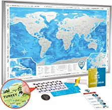 Discovery Map Scratch Off World Map Poster Framed - Large Detailed Scratch Off Map of The World 35x25 with Silver Frame - Award Winning Premium Travel Map Scratch Off with USA/Canada States
