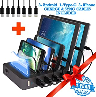 TIMSTOOL 6 USB Charging Station for Multiple Devices - No Buzz - LED Indication - Smart Fast Charging Dock Compatible with iPhone iPad Cellphone Black