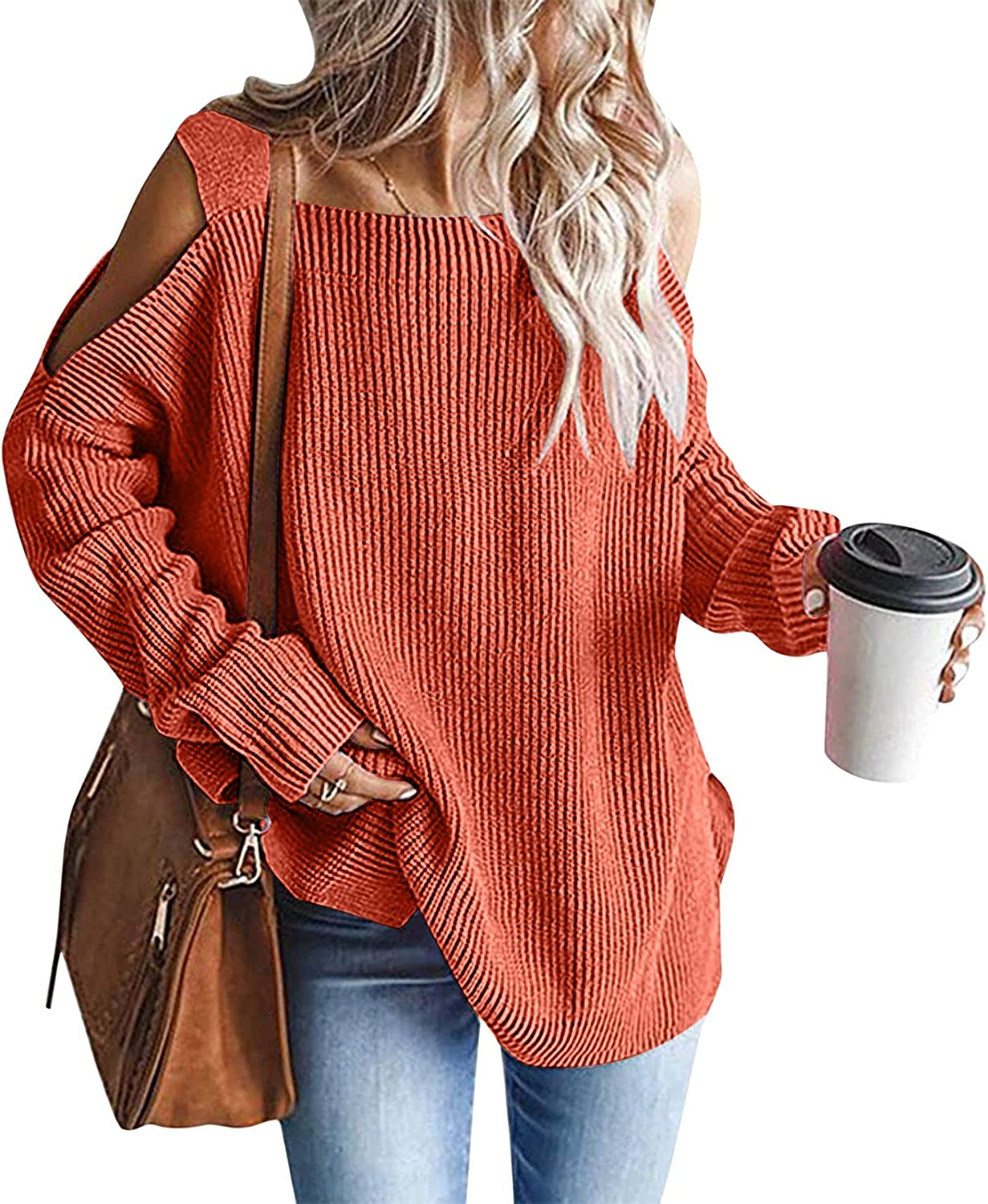 Women Off-Shoulder Sweater Bat-Sleeved Long-Sleeved Pullover Thick Knitted Winter Tunic Top