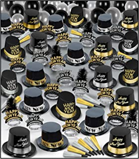 Beistle Super Deluxe Assortment for 100 People New Year's Eve Party Supplies Photo Booth Props – Hats, Tiaras, Noisemaker...