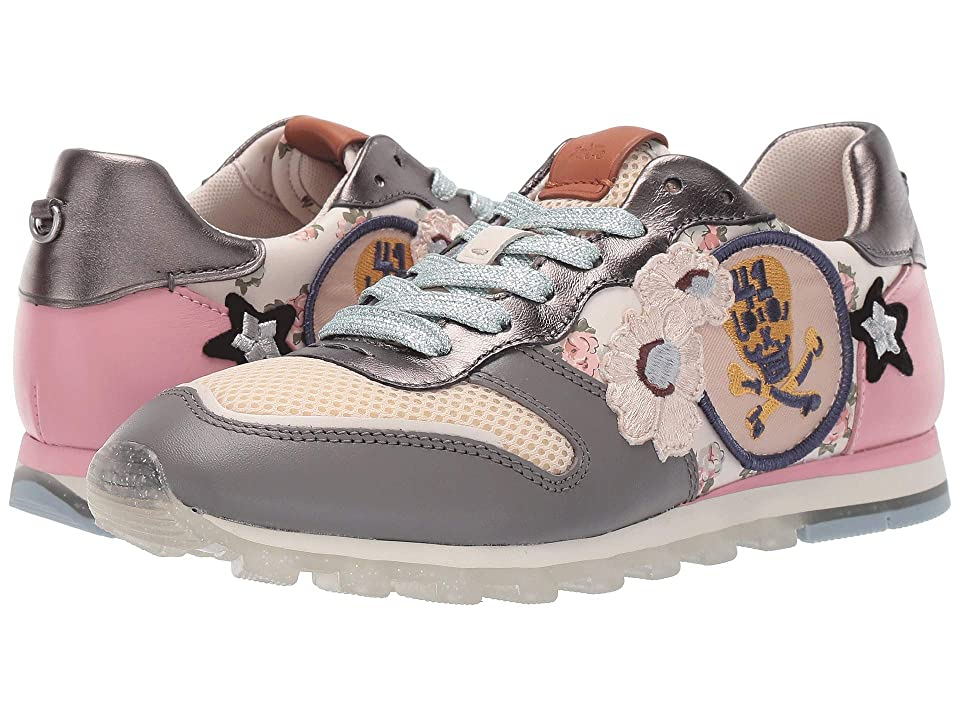 COACH C118 Runner with Mini Vintage Rose Print and Patches (Chalk/Gunmetal) Women