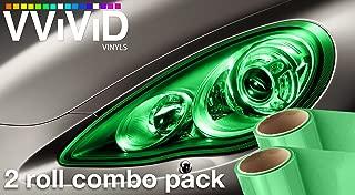 VViViD Air-Tint Emerald Green Gloss Vinyl Headlight Foglight Transparent Tint Wrap Self-Adhesive (12 Inch x 24 Inch, 2-roll Pack)