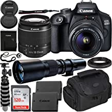 $379 » Canon EOS 4000D DSLR Camera with EF-S 18-55mm f/3.5-5.6 III Lens & 500mm Preset Lens Beginner's Bundle - Includes: SanDisk Ultra 128GB SDXC Memory Card, Extended Life LPE10 Replacement Battery & More