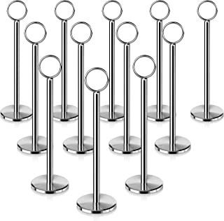 New Star Foodservice 23336 Ring-Clip Table Number Holder/Number Stand/Place Card Holder, Set of 12, 8-Inch
