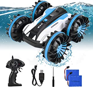 Rainbrace Waterproof Remote Control Car Boat 2.4G Radio Controlled Stunt RC Cars Rechargeable All Terrain RC Truck Gifts Toys for 5-12 Year Old Boys Girls Kids Christmas Birthday Present- Blue