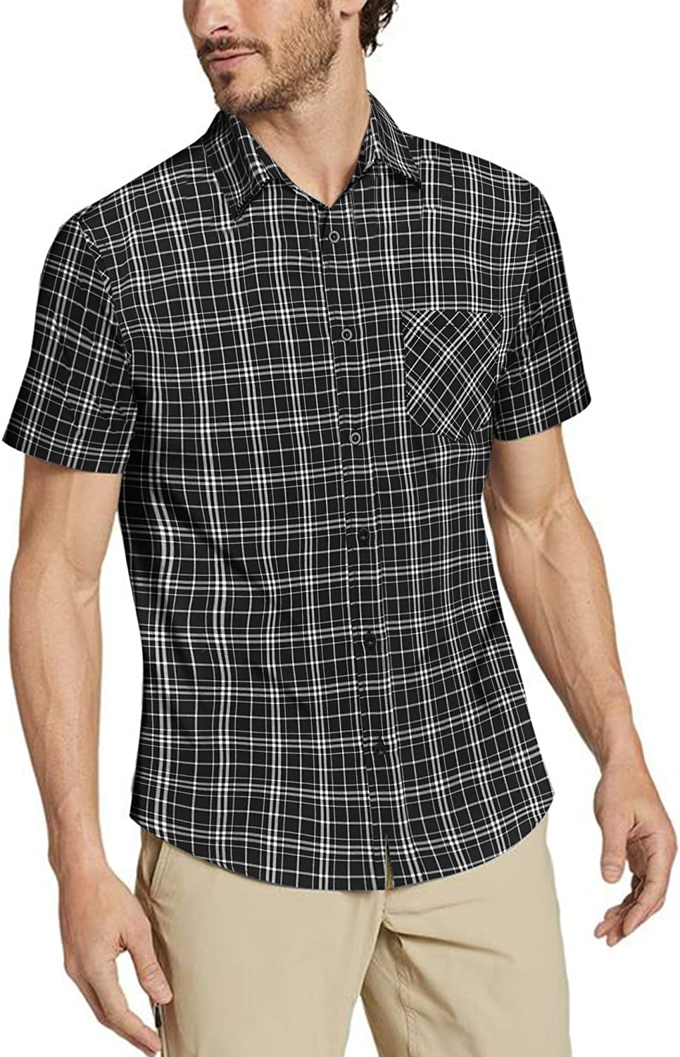 COOFANDY Men's Short Sleeve Plaid Dress Shirt Classic Fit Wrinkle-Free Casual Button Down Checked Shirts with Pocket