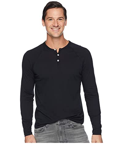 Alternative Organic Long Sleeve Raglan Henley (True Black) Men