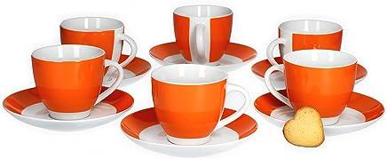 Preisvergleich für Van Well 6er Set Kaffeetasse mit Untertasse Serie Vario Porzellan - Farbe wählbar, Farbe:orange