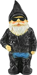 """Biker Garden Gnome Statue By Besti - Father's Day Outdoor Garden Figurine In Motorcycle Leather Jacket - Excellent Garden Ornament / Yard Art - Funny Lawn Statue - Perfect Gift Idea 8-3/4"""" High"""