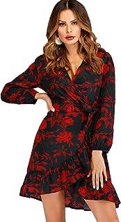 Women Long Sleeves Floral Wrap V Neck Ruffle Boho Midi Dress