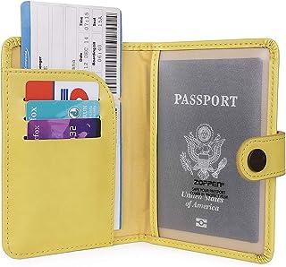 WHEREISART Fashion Women Passport Holder Neck Wallet Documents Organizer Zipper Case