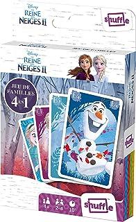 Shuffle Disney La Reine des Neiges 2 Cartes 4 Jeux en 1 : 7 Familles, Paires, Action et Batailles-avec Elsa, Anna, Olaf, S...