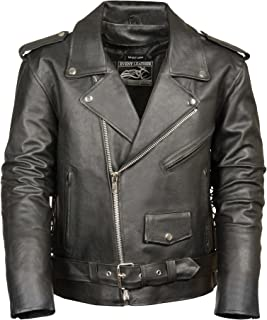 Event Biker Leather Men's Basic Motorcycle Jacket with Pockets (Black, XXX-Large)