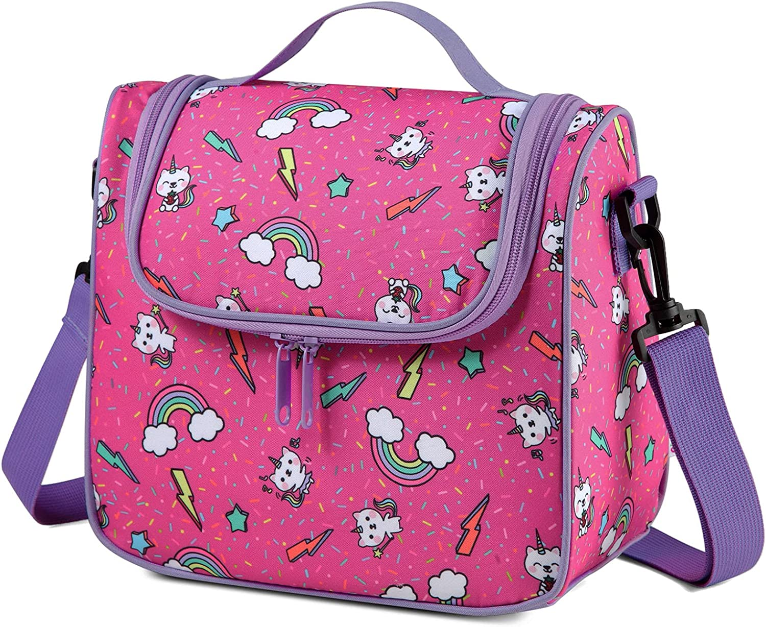 Lunch Bag for Girls, Chasechic Insulated Kids Lunch Bag, Lightweight Lunch Box Leak-Proof Cooler Bag with Detachable Adjustable Shoulder Strap, Kids Lunch Tote Organizer for Daycare School, Cat