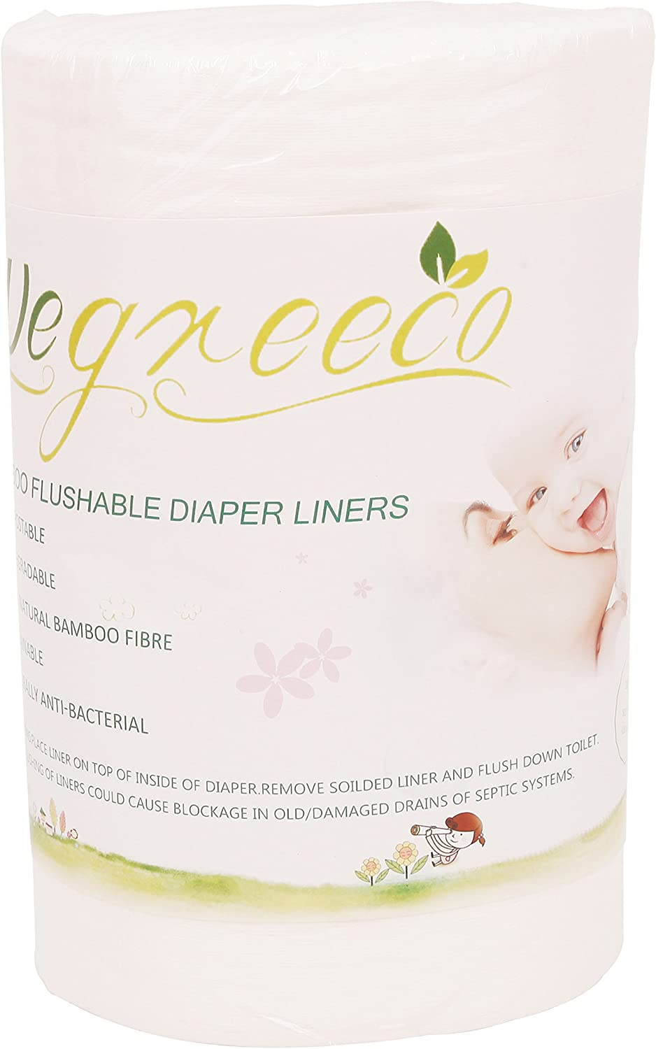 wegreeco 100% Bamboo Unscented Diaper Liners,Fragance Free and Chlorine Free - 100 Sheets Per Roll ( 1 Roll, Bamboo)